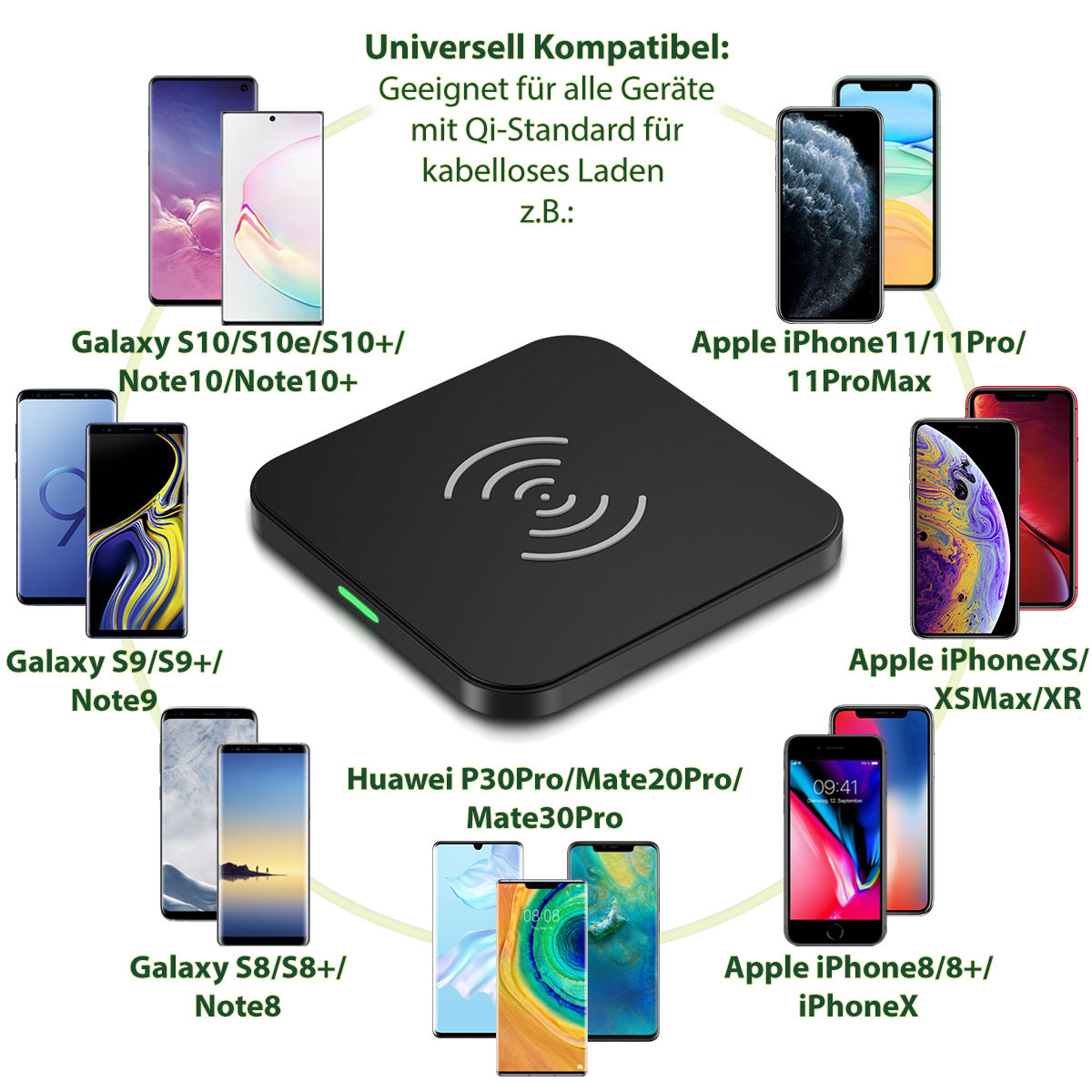 QI Wireless Charger Samsung Galaxy Note 10 9 8 S10+ S10e ...