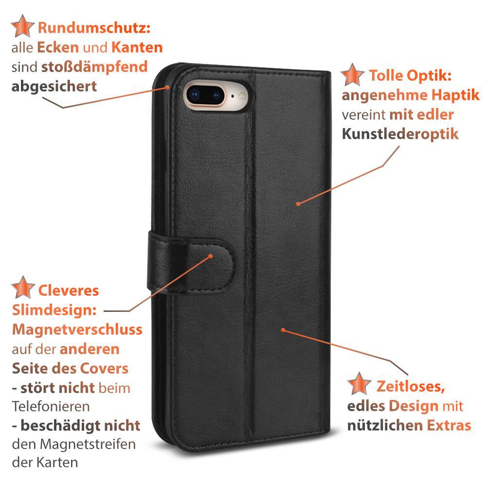 h lle klapph lle apple iphone 8 plus handy tasche schwarz. Black Bedroom Furniture Sets. Home Design Ideas